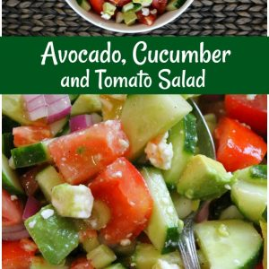pinterest collage image for avocado cucumber tomato salad