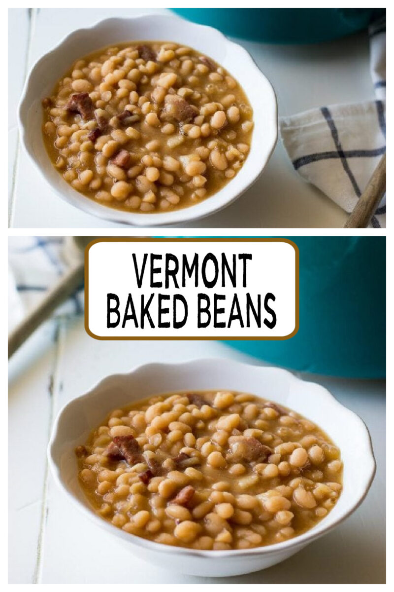 pinterest collage image for vermont baked beans