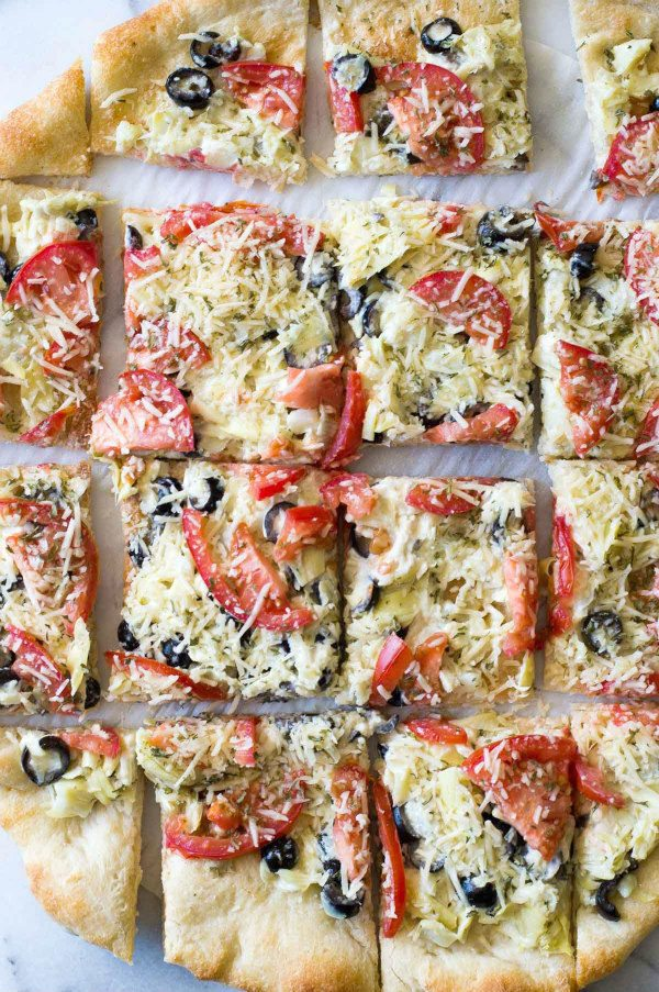 Easy Artichoke Pizza Bites recipe - from RecipeGirl.com