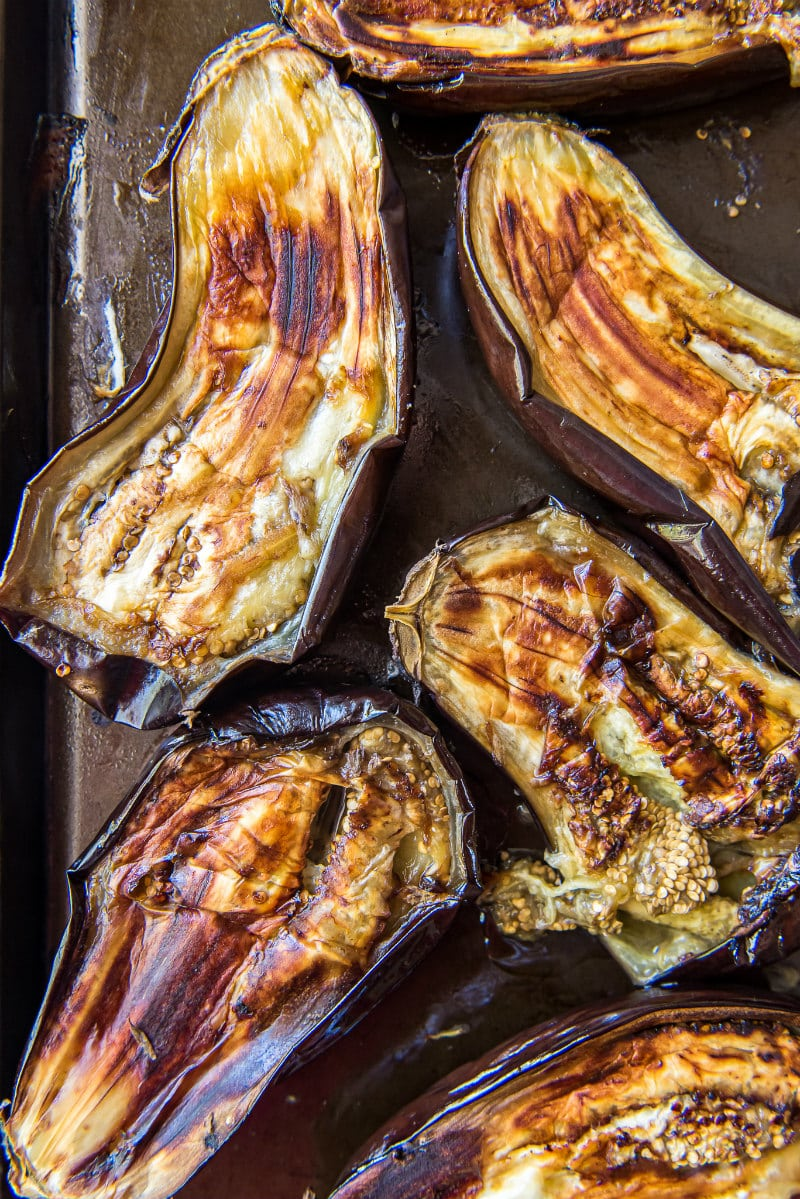 Grilled Eggplant on a pan cut in half