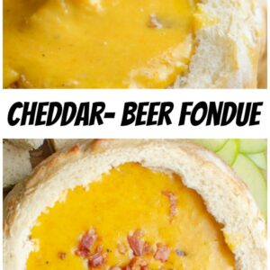 pinterest collage image for cheddar beer fondue