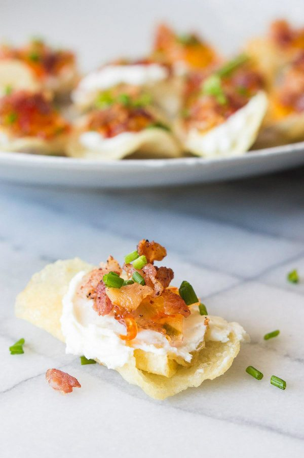 Potato Chips with Goat Cheese, Pepper Jelly and Bacon - recipe from RecipeGirl.com