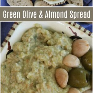 Pinterest collage image for green olive and almond spread