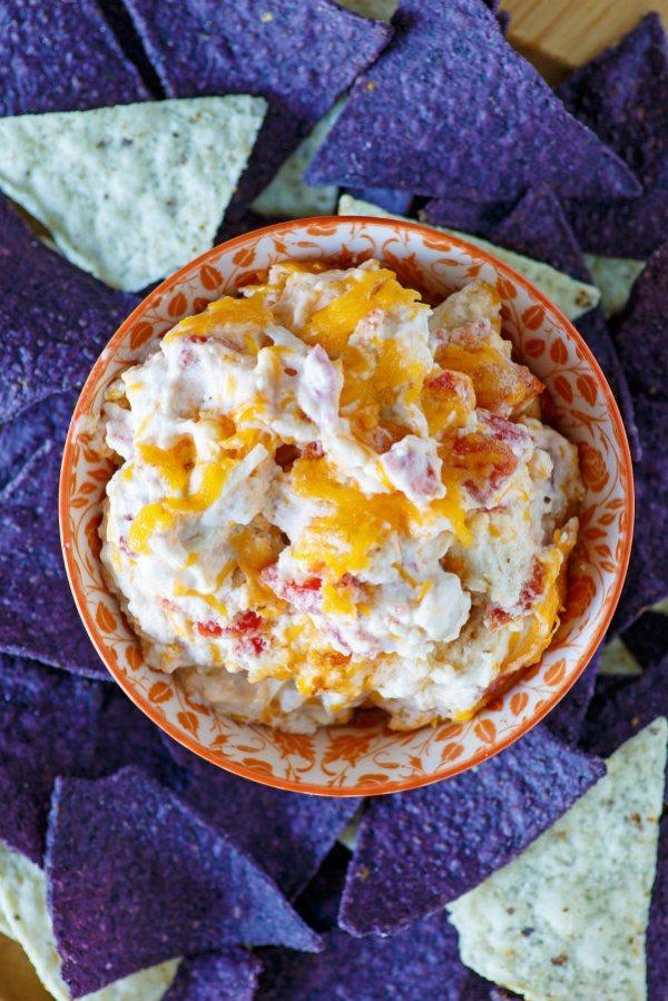 Hot Chicken Enchilada Dip recipe from RecipeGirl.com