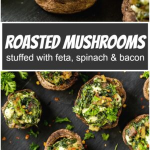 pinterest collage image for roasted mushrooms