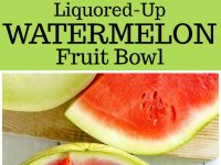 pinterest collage image for liquored up watermelon fruit bowl