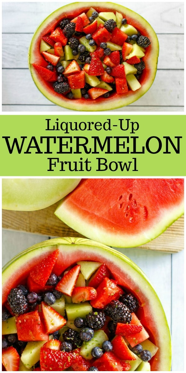 Liquored Up Watermelon Fruit Bowl : a watermelon bowl filled with rum, vodka, lime and simple syrup! #recipe from RecipeGirl.com