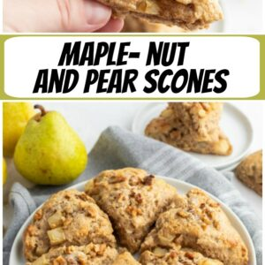 pinterest collage image for maple nut pear scones