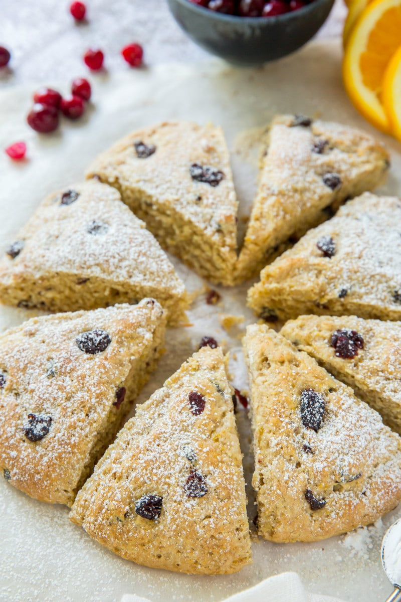 Whole Wheat Cranberry Scones dusted with powdered sugar