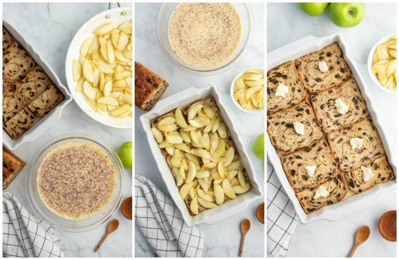 three photos showing process of making overnight apple stuffed french toast