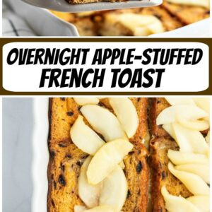 pinterest collage image for overnight apple stuffed french toast