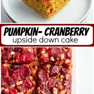 pumpkin cranberry upside down cake pinterest image