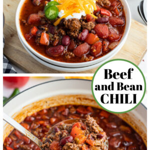 pinterest collage image for beef and bean chili