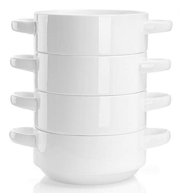 stack of four soup and chili bowls