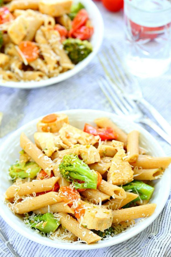Chicken Pasta Primavera recipe - from RecipeGirl.com