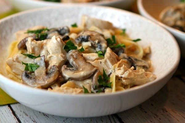bowl of Chicken and Mushroom Fettuccine
