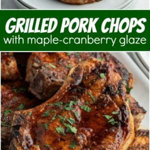 pinterest collage image for grilled pork chops