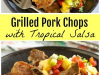 pinterest collage image for grilled pork chops with tropical salsa