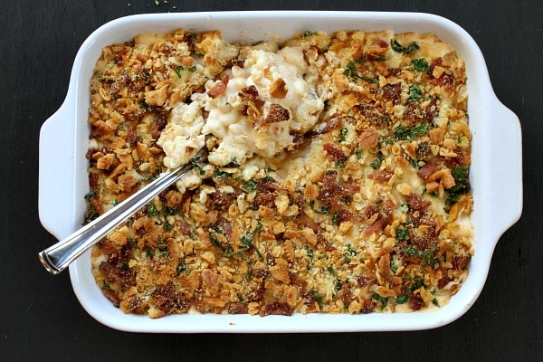 Homestyle Baked Macaroni and Cheese in a casserole dish