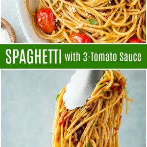 pinterest collage image for spaghetti with 3 tomato sauce