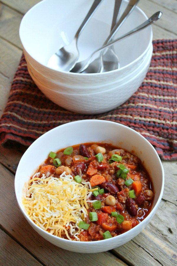Spicy Vegetarian Chili recipe - from RecipeGirl.com