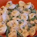 Tortelllini peas & asparagus with creamy tarragon sauce