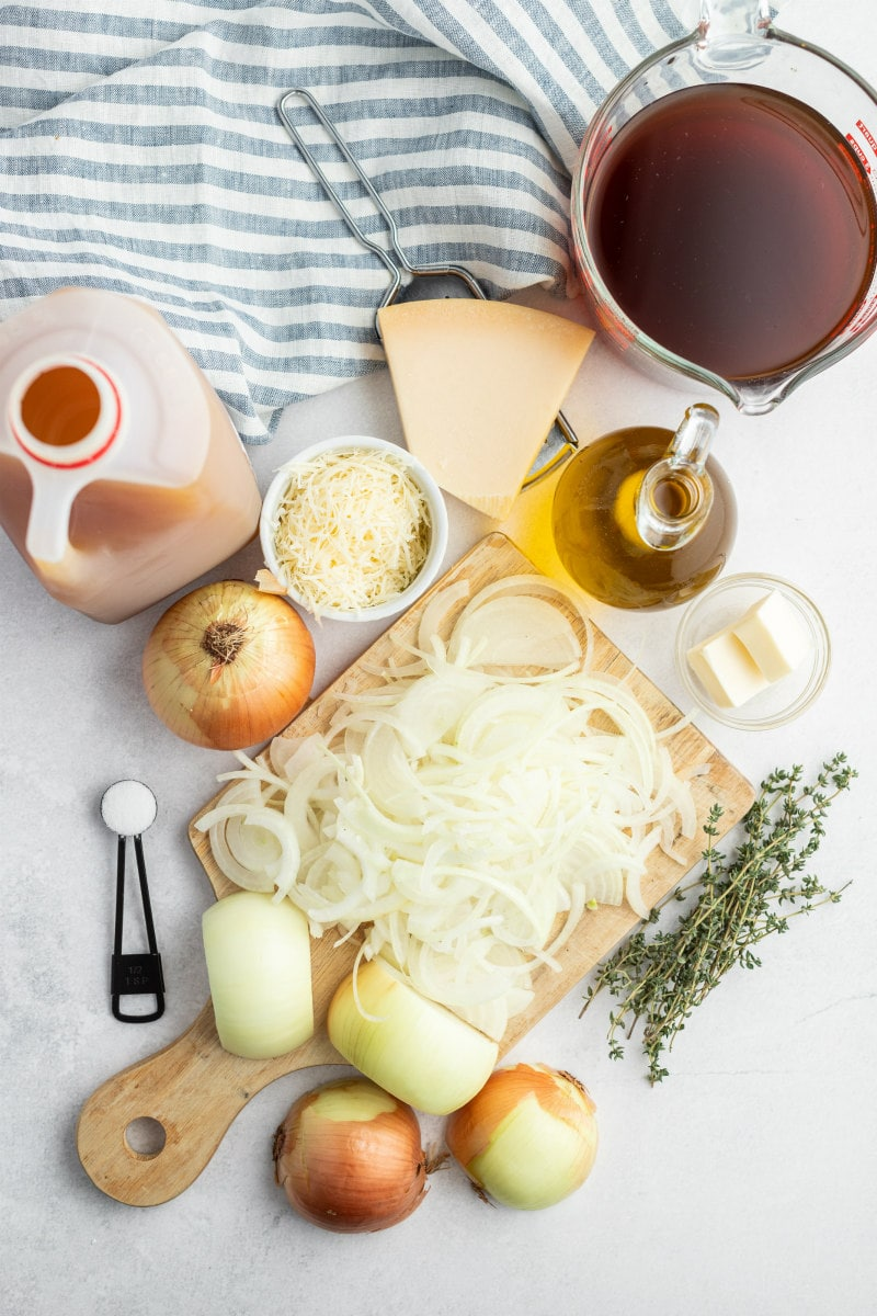 ingredients displayed for making caramelized onion soup