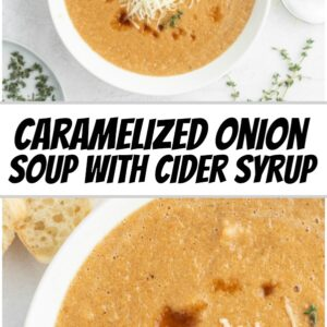 pinterest collage image for caramelized onion soup