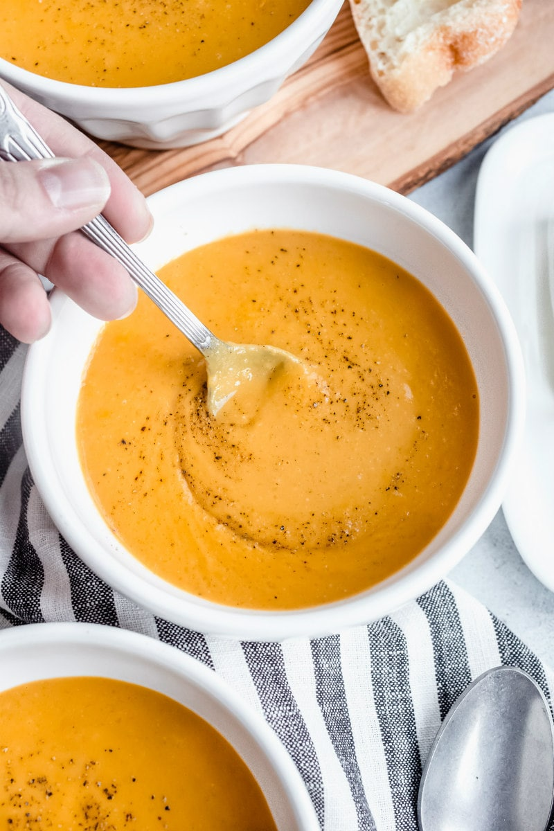 spoonful of carrot and butternut squash soup