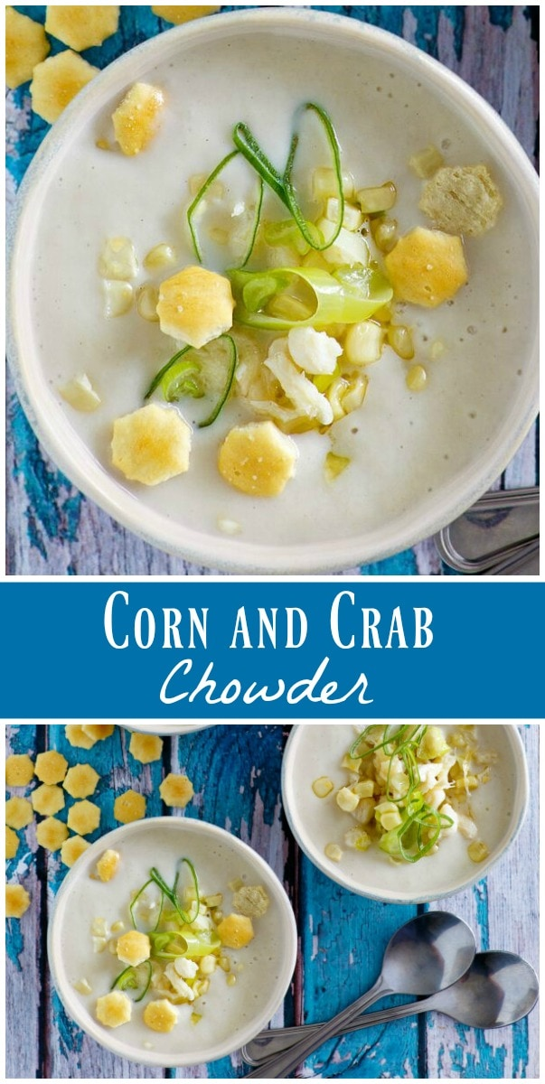 Corn and Crab Chowder recipe from RecipeGirl.com #corn #crab #chowder #recipe #RecipeGirl