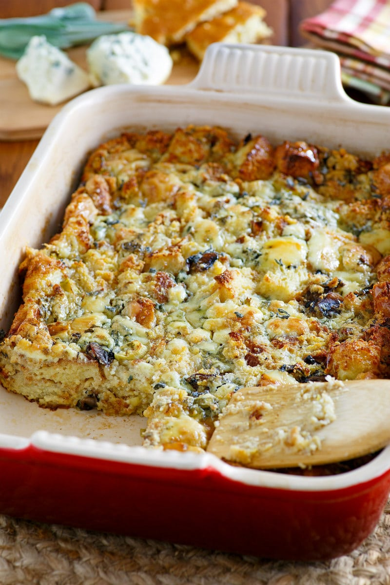 Cornbread and Gorgonzola Dressing in a casserole dish