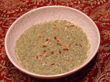 Creamy Broccoli Soup with Mustard Basil and Oregano