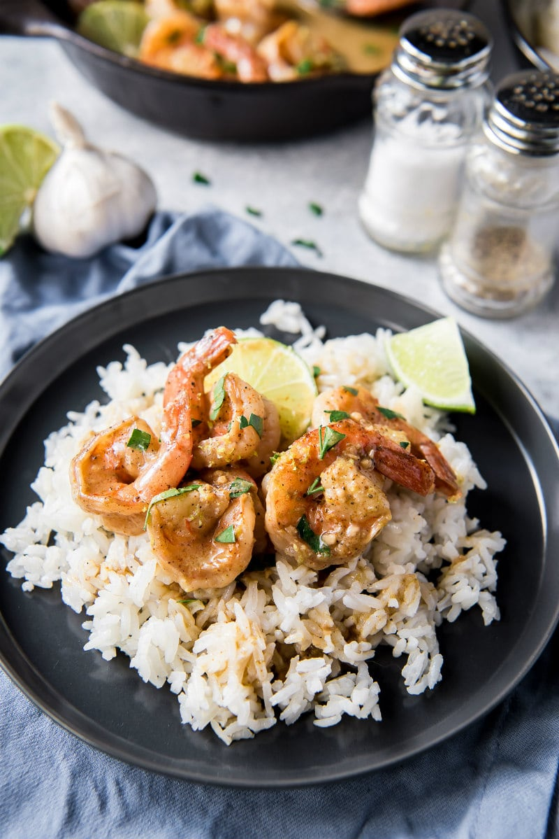 Garlic Lime Shrimp served over rice