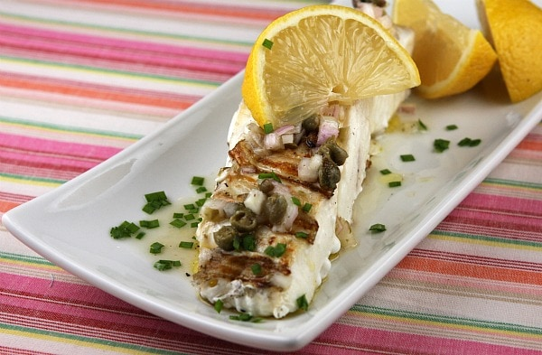 Grilled Halibut with Lemon Caper Vinaigrette