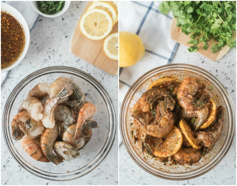 side by side photos showing before and after of jumbo shrimp raw in a bowl and then jumbo shrimp seasoned in a bowl. chipotle butter, lemons and fresh cilantro in the background.