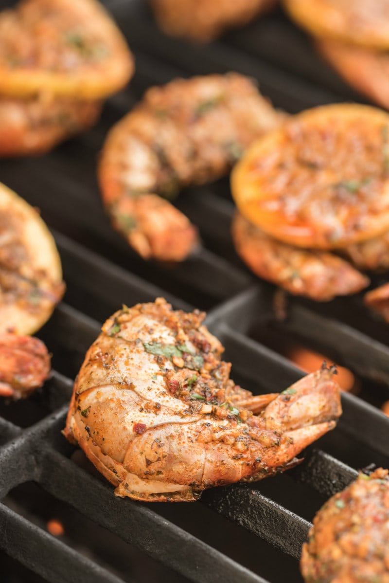 jumbo shrimp grilling on a barbecue