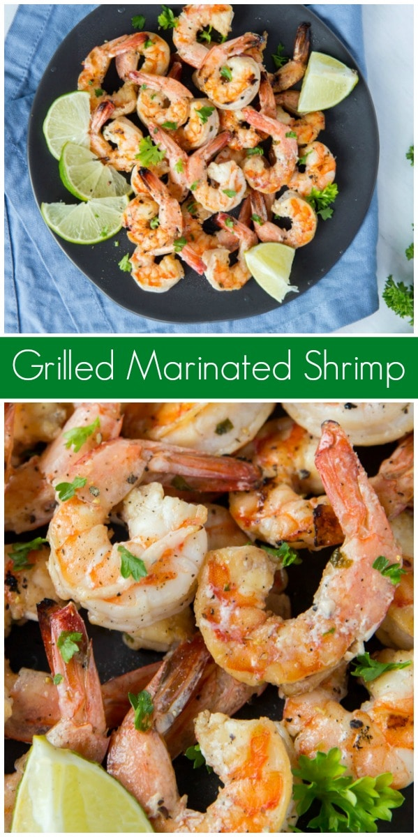 pinterest collage image for grilled marinated shrimp