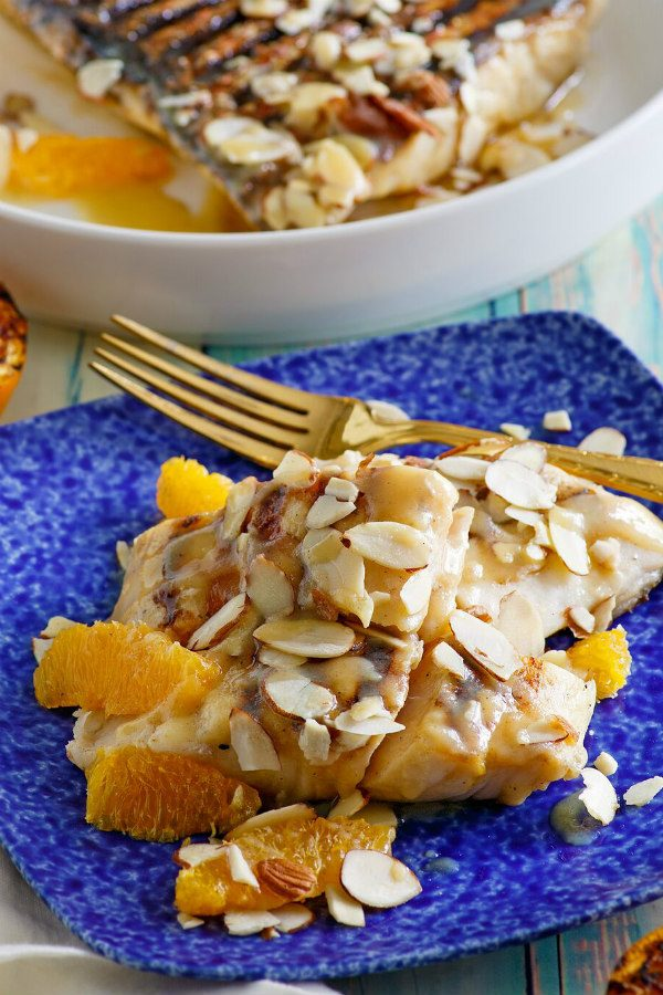 Grilled Snapper with Orange Almond Sauce