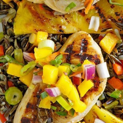 grilled swordfish topped with mango salsa