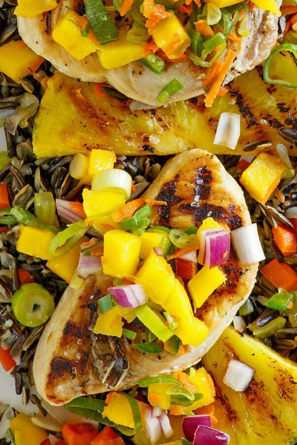 Grilled Swordfish with Mango Salsa and Grilled Pineapple