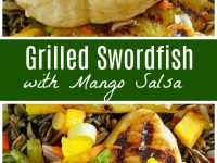 pinterest collage image for grilled swordfish with mango salsa