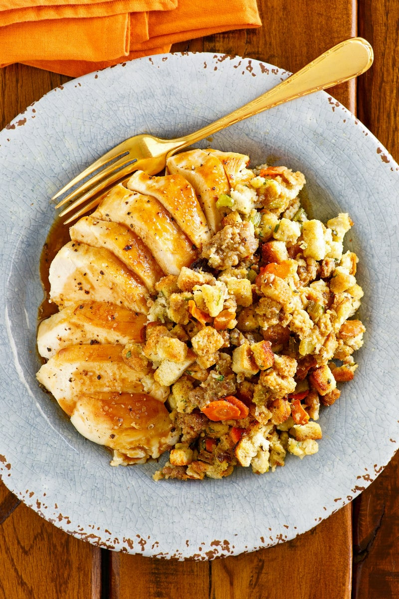 Low Fat Sausage Stuffing served with turkey