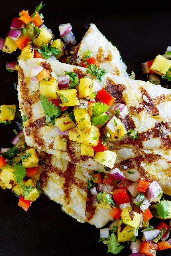 Grilled Mahi Mahi topped with Grilled Pineapple Salsa