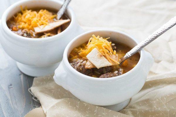 Mexican Meatball and Salsa Soup recipe - from RecipeGirl.com