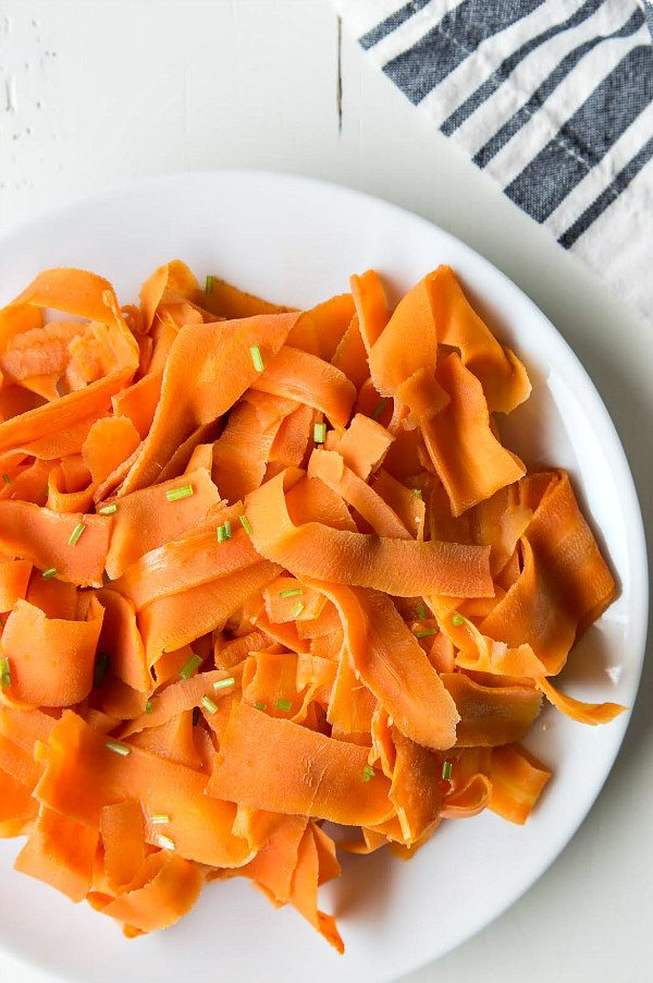 Orange Glazed Carrot Ribbons - RecipeGirl.com