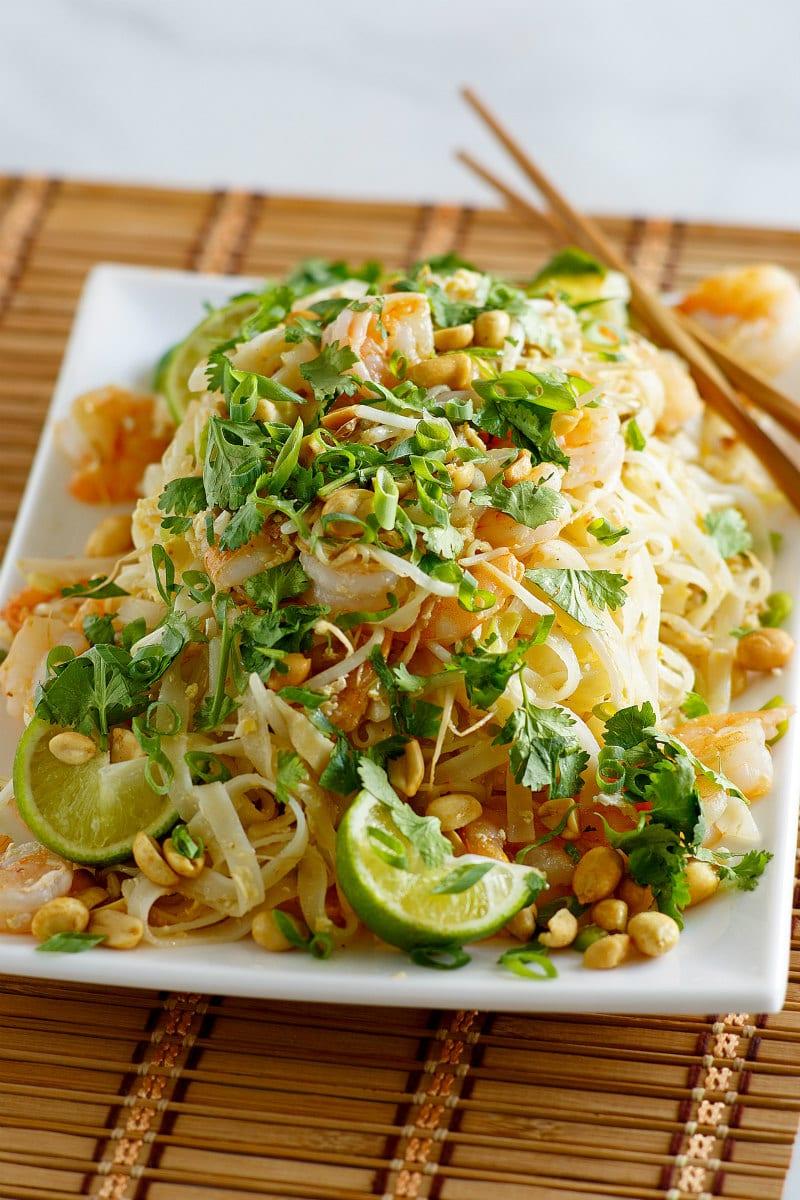 Serving dish of Pad Thai Shrimp
