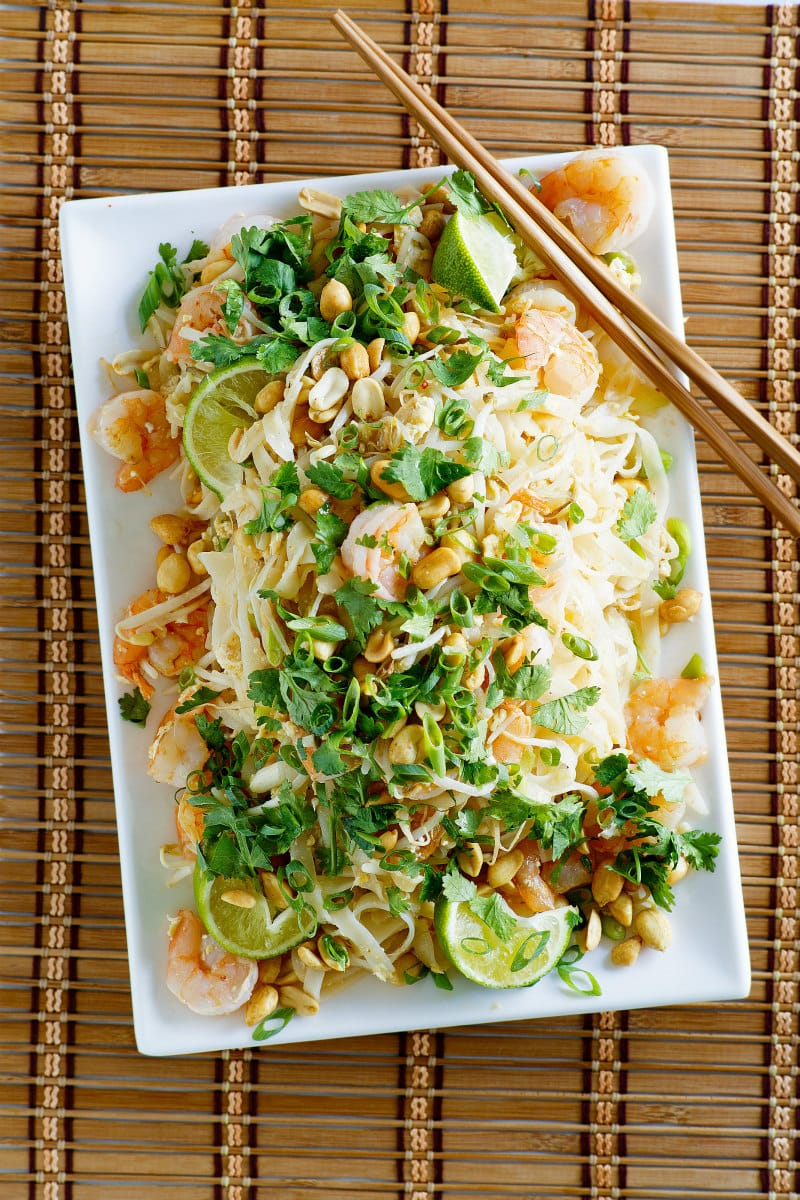 Serving platter of Pad Thai Shrimp