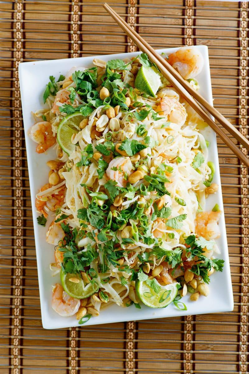Serving platter of Pad Thai Shrimp
