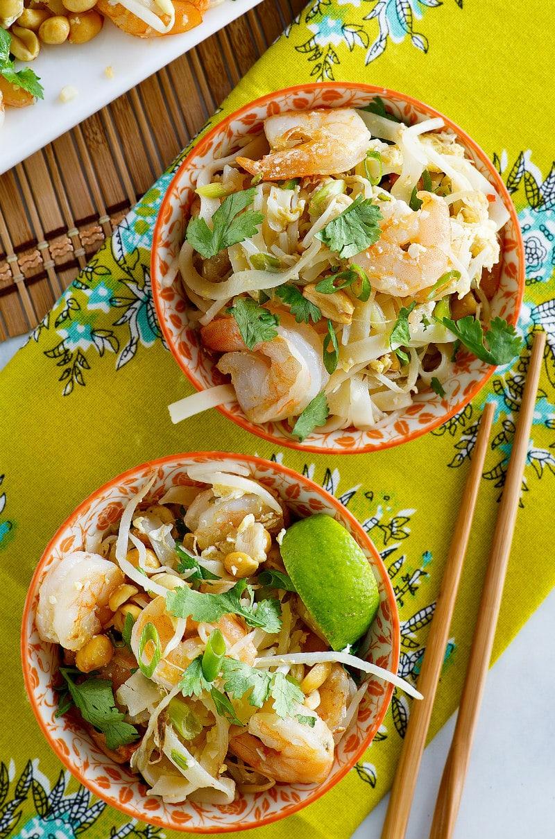 Two bowls of Pad Thai Shrimp