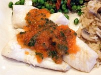 Poached Orange Roughy with Fresh Tomato Sauce